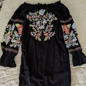 Free People Strapless Embroidered Dress